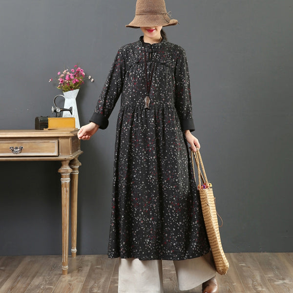 Women's Warm Loose Retro Floral Dress