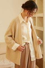 Women's Drop Shoulder Cable Cardigan Sweater Coat