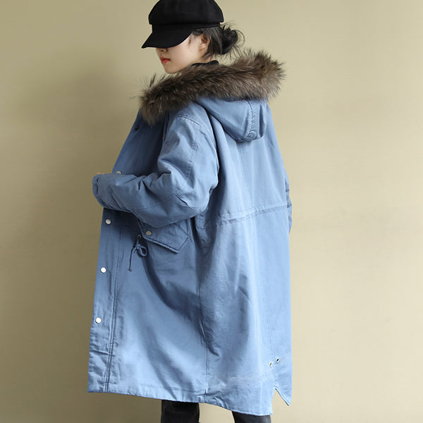 Women Loose Drawstring Waist Parka Coat