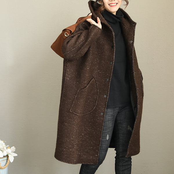 Winter Loose Hoodie Long Woolen Coat For Women Q1995