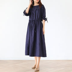 Women Vintage Linen Half Sleeve Round Neck Dress