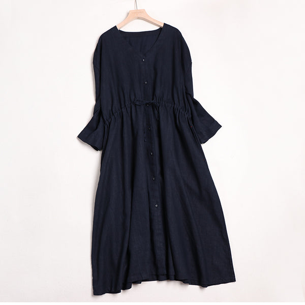 Women V Neck Linen Casual Waist Drawstring Dresses