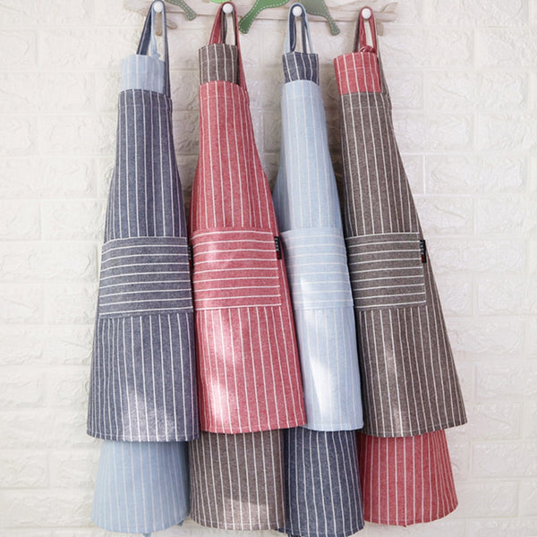 Striped Cotton Linen Parent-Child Aprons Pocket Artist Apron Chef Apron