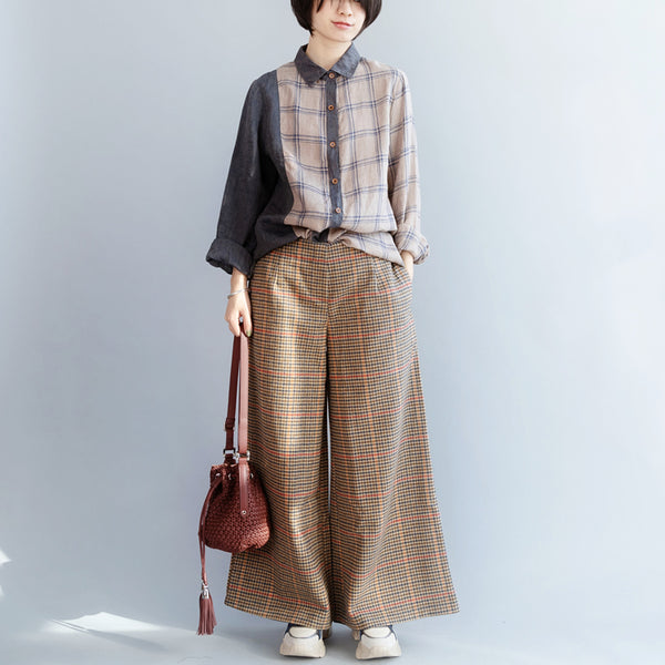 Checked Loose Pants, Elastic Waist Women Trousers
