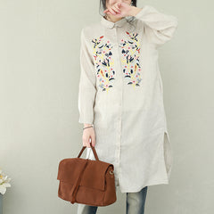 Vintage Embroidery Linen Long Shirt Women Loose Blouse For Spring Q2288