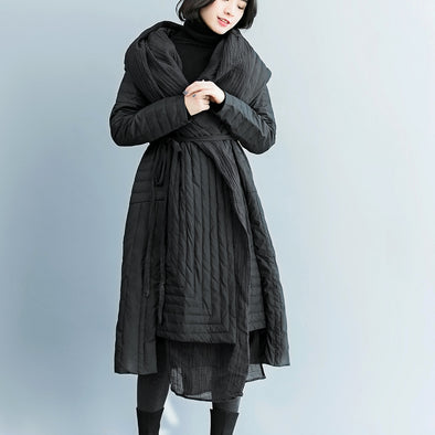 Fashion Black Hoodie Fitted Down Coat Women Winter Outfits C1211
