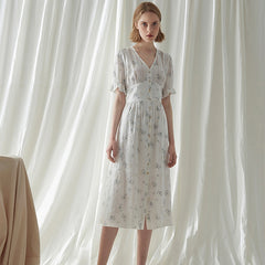 Women Summer White Floral Dresses Vintage Cute Clothes Q4060