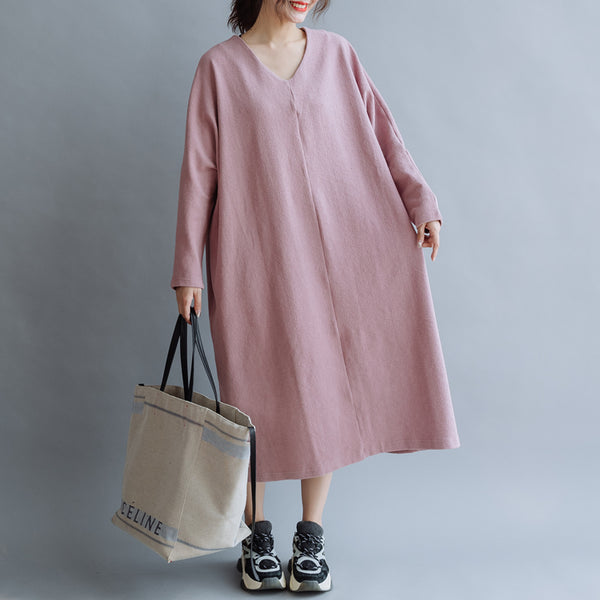 Women Cotton Simple V Neck Loose Dress