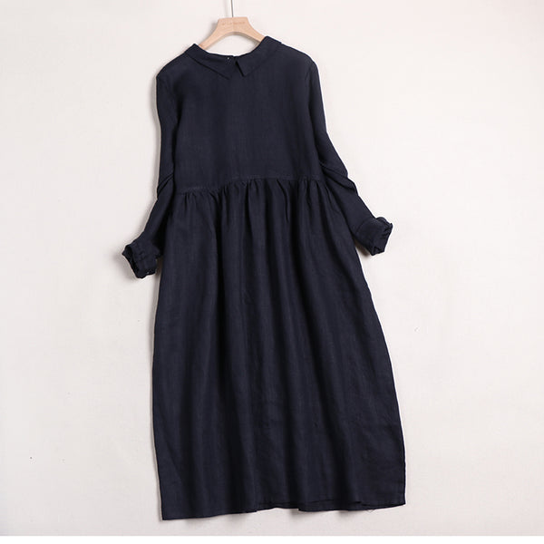 Women Linen Solid Color Doll Collar Long Sleeves Dress
