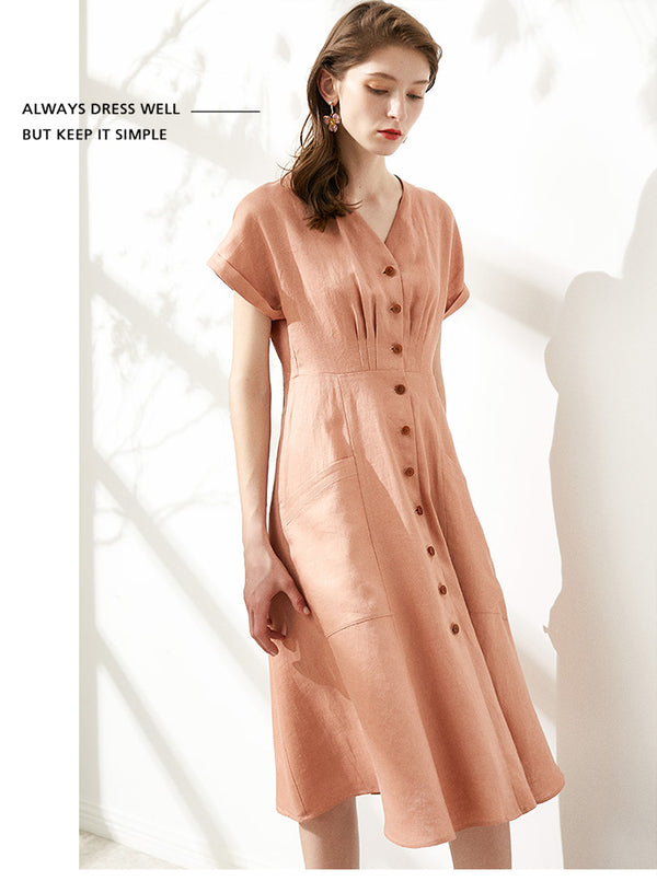 Linen Fitting V-neck Summer Dresses For Women