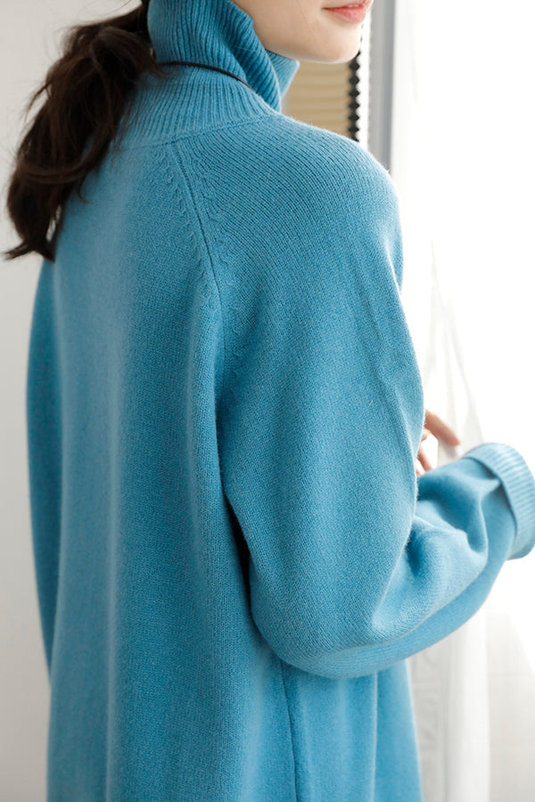 Women's Casual Blue Turtleneck Wool Sweater