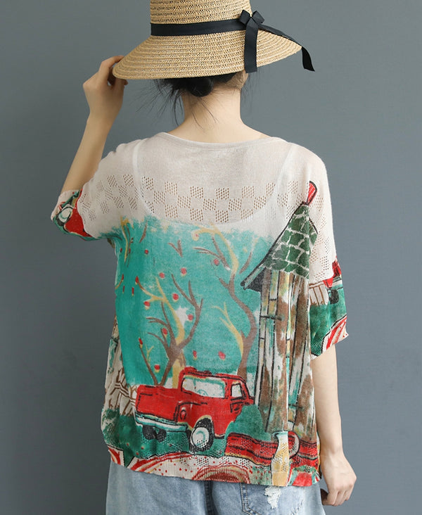 Women Loose Print Knitted Shirt Summer Casual Blouse S17062