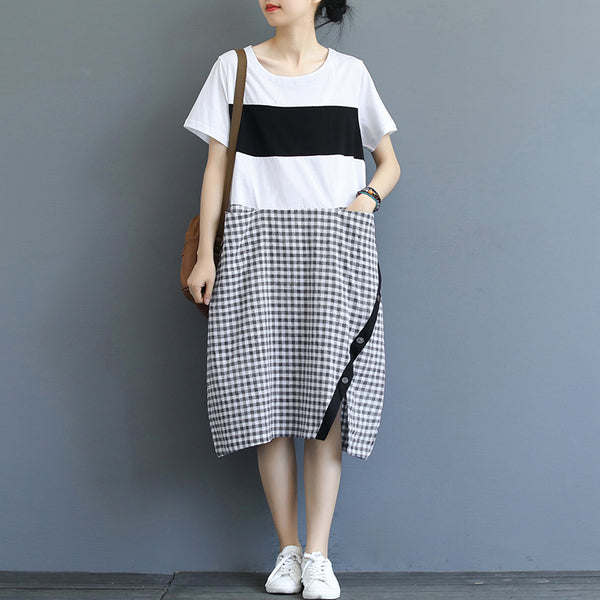 Loose Quilted Plaid Cotton Linen Dresses Women Summer Clothes Q19064
