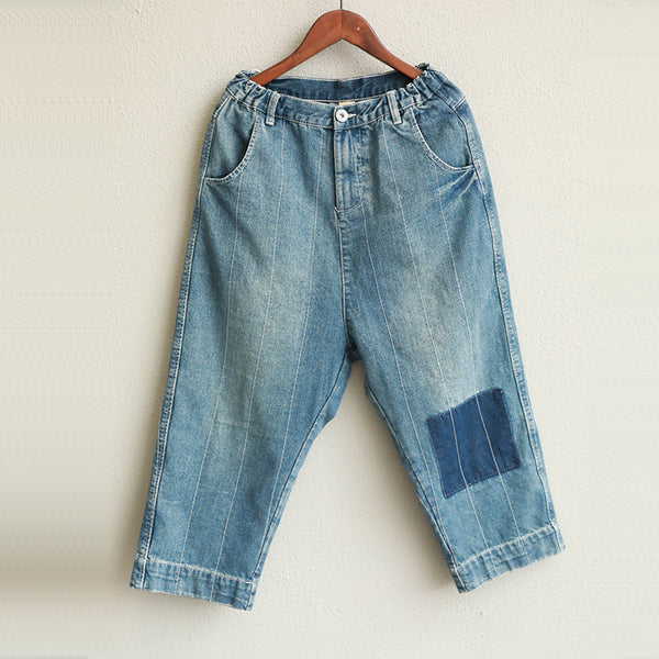 Women Blue Cotton Casual Denim Pants Loose Harem Jeans Q1933