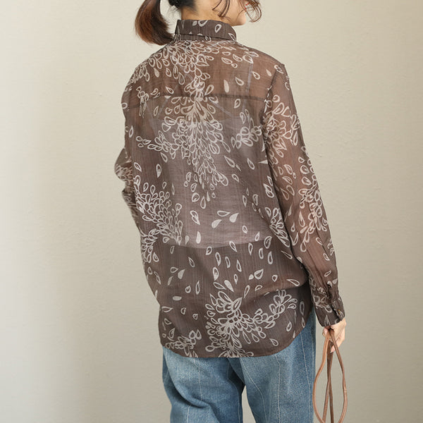 Coffee Vintage Print Cotton Shirt Women Casual Blouse Q1979