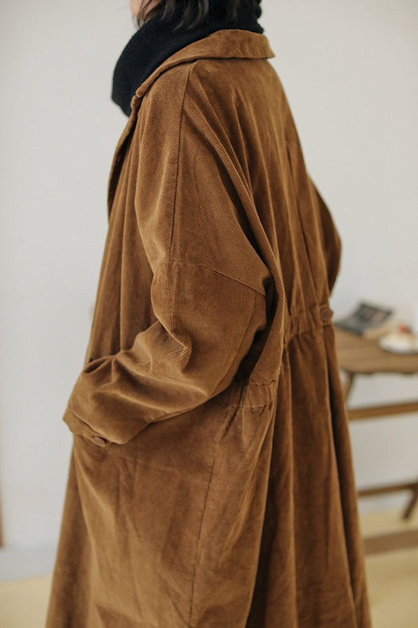 Loose Corduroy Coat For Women F91052