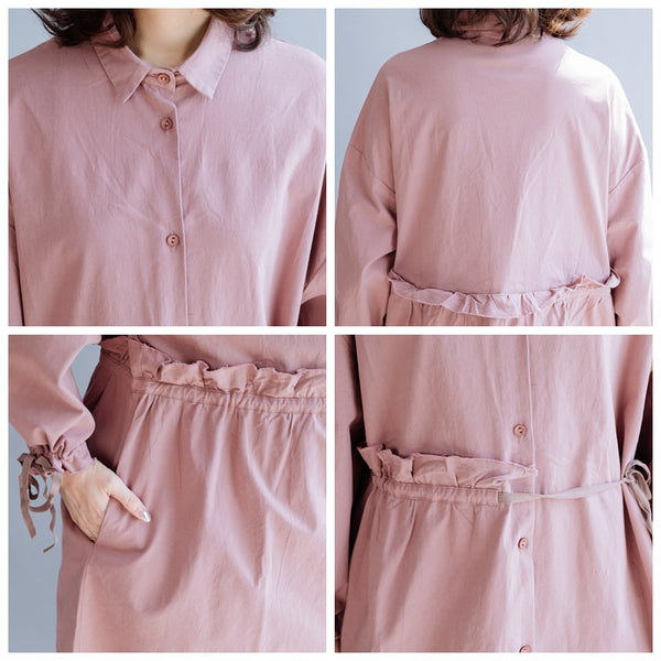 Agaric Lace Pink Casual Loose Women Dress