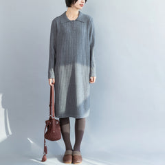 Women's Retro Loose Lapel Knit Dress