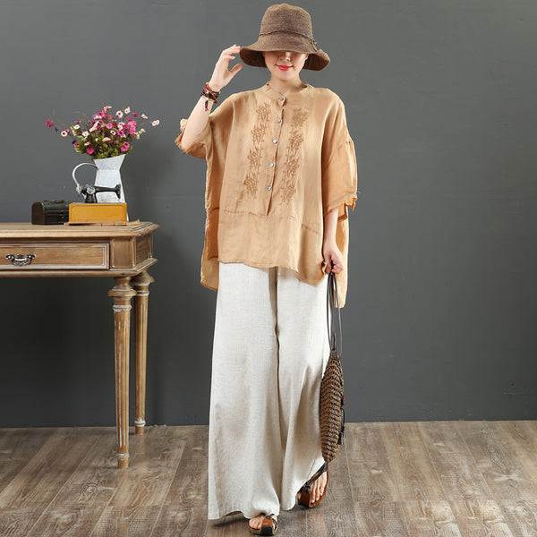 Summer Pure Color Linen Short Blouse Women Loose Shirt 2165