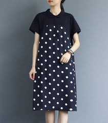 Women Loose Polka Dot Vintage Dresses Summer Casual Clothes Q3060