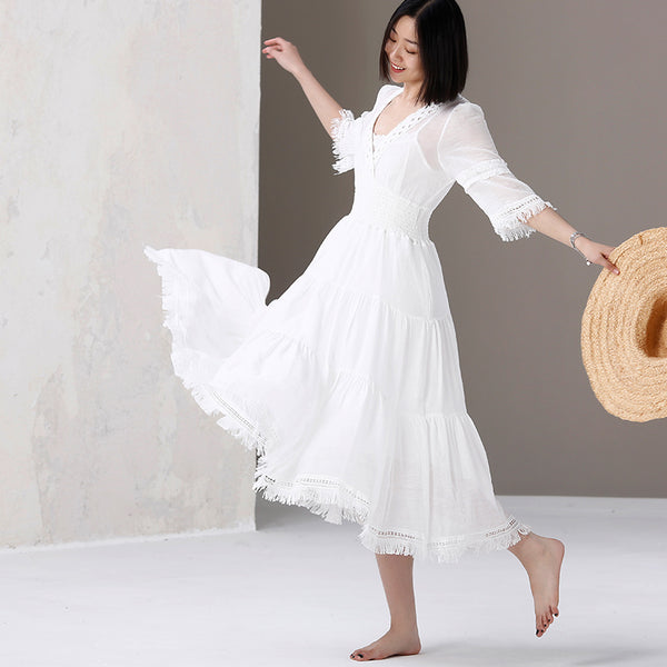 Women Cute White Maxi Dresses Casual Summer Clothes Q1820