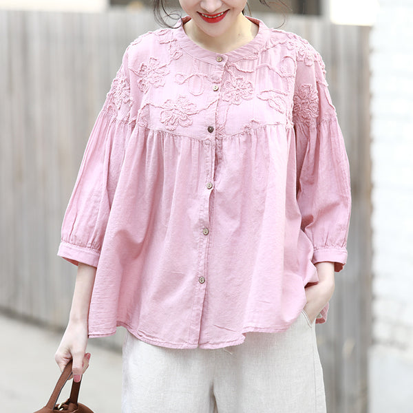 Women Casual Cute Button Down Blouse Loose Spring Tops Q2319