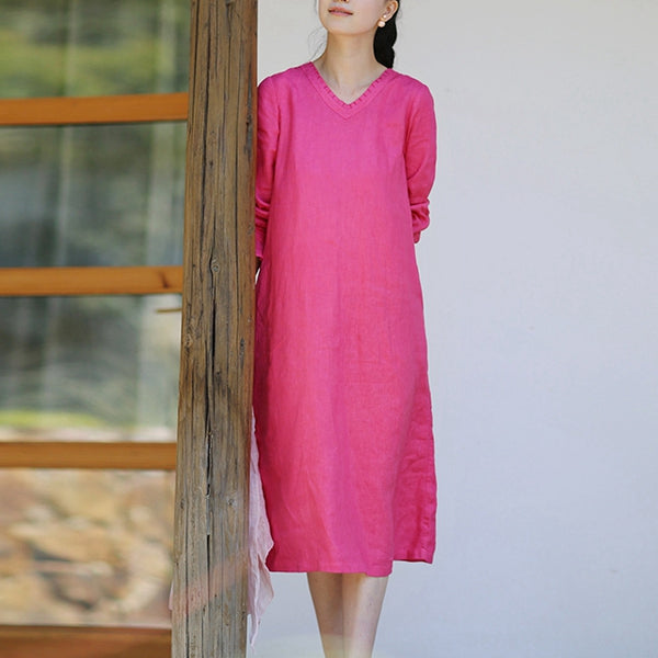 Women Loose Linen v-Neck Girdle Dress