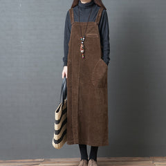 Corduroy Loose Large Pocket Suspenders Dress For Women
