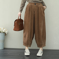 Vintage Casual Corduroy Pants Women Loose Trousers For Spring Q2229