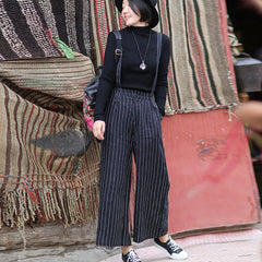 Casual Black Striped Linen Wide Legs Women Jumpsuits