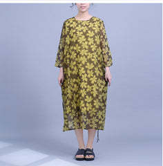 Vintage Yellow And Gray Floral Dresses For Women Q23043