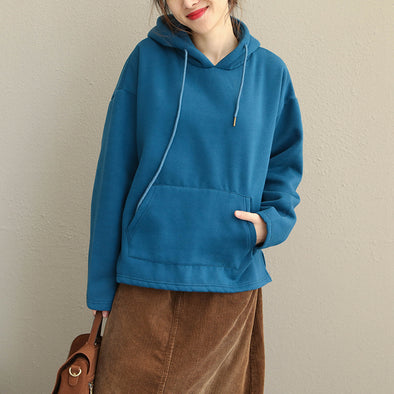 Casual Hoodie Pure Color Brushed Fleece For Women Q1913