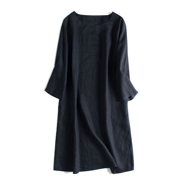 Simple Linen Pure Color 3/4 Sleeve Dress Women Clothes