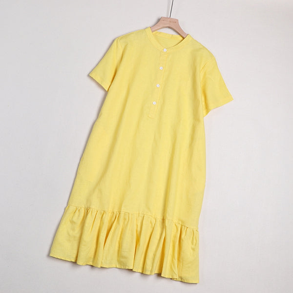 Women's Simple Casual Pure Color Linen Dresses