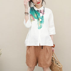 Vintage White Print Linen Shirt Summer Loose Blouse For Women Q2729