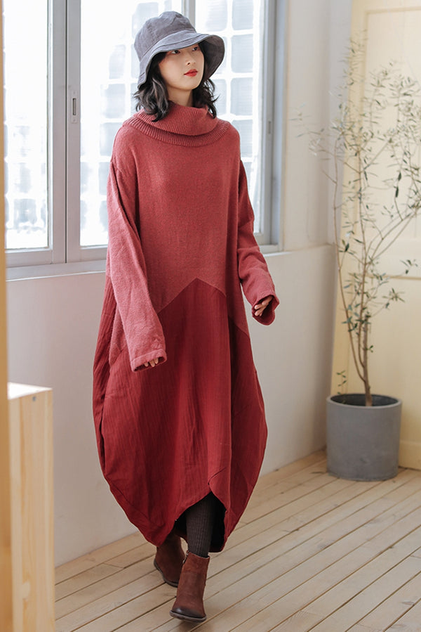 Women Wool Patchwork Turtleneck Sweater Dress