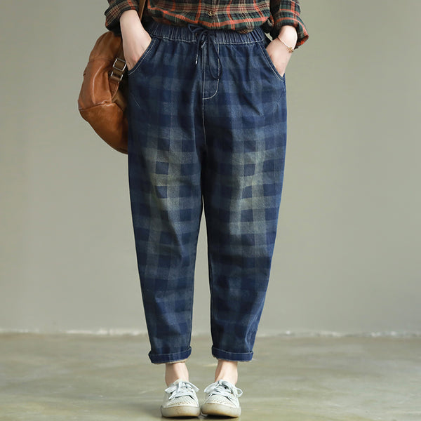 Casual Plaid Jeans Women Loose Denim Harem Pants K25020