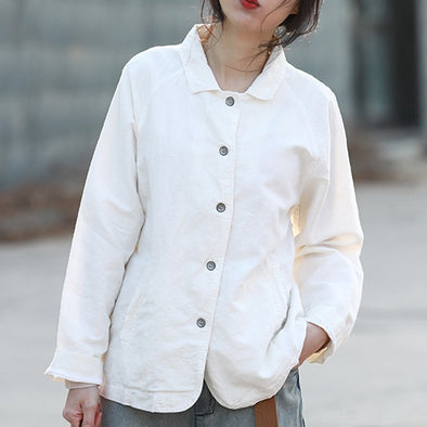 White And Coffee Casual Cotton Linen Suit Coat For Women Q2305