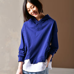 Casual Blue Hoodie Quilted Cotton Fleece For Women T3062