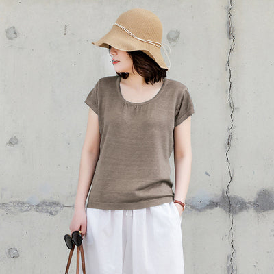 Casual Simple Pure Color Cotton Shirt Women Loose Loose Blouse S13050
