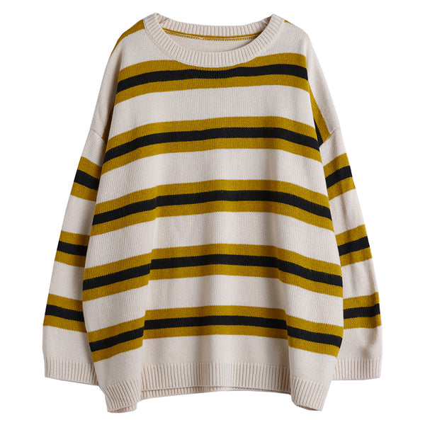Women's Casual Yellow Striped Knit Sweater