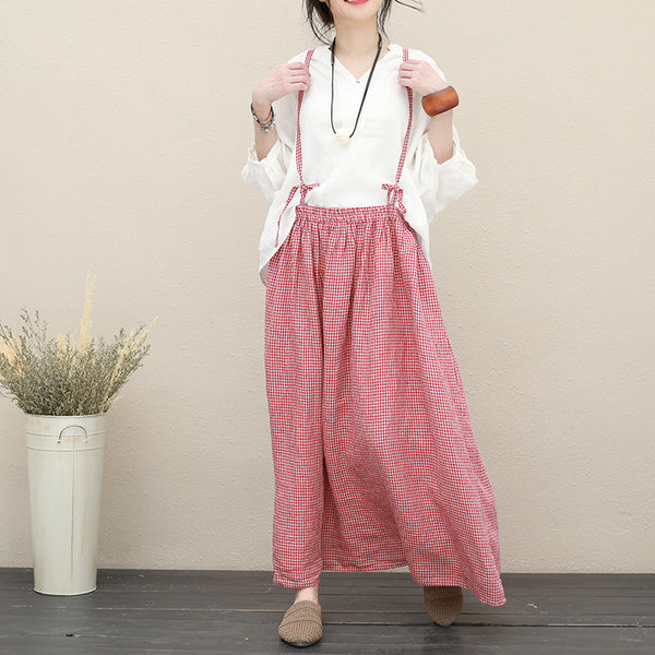 Loose Vintage Plaid Linen Dresses Women Summer Cool Clothing Q2723