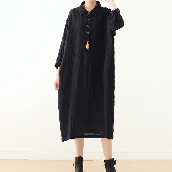Vintage Loose Linen Dress Women Shirt Dress