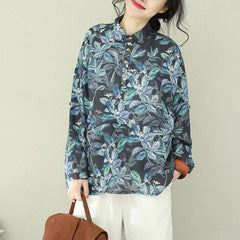 Casual Blue Print Linen Short Shirt Women Loose Tops Q2191