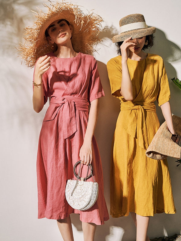 Linen Tied Knot Summer Dresses For Women