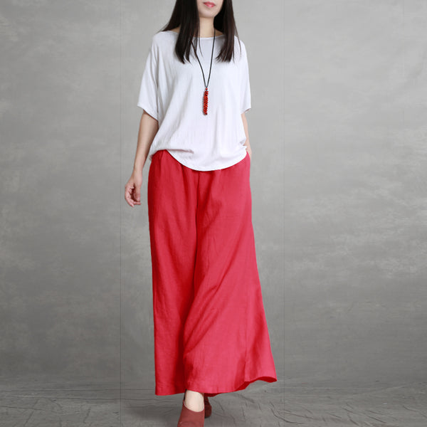 Summer Linen Wide-leg Pants Women Casual Loose Trousers