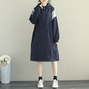 Loose Quilted Color Brushed Fleece Dresses For Women Q2059