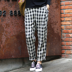Casual Vintage Black White Plaid Harem Pants Women Trouses