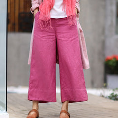 Women's Simple Linen Wide Leg Pants