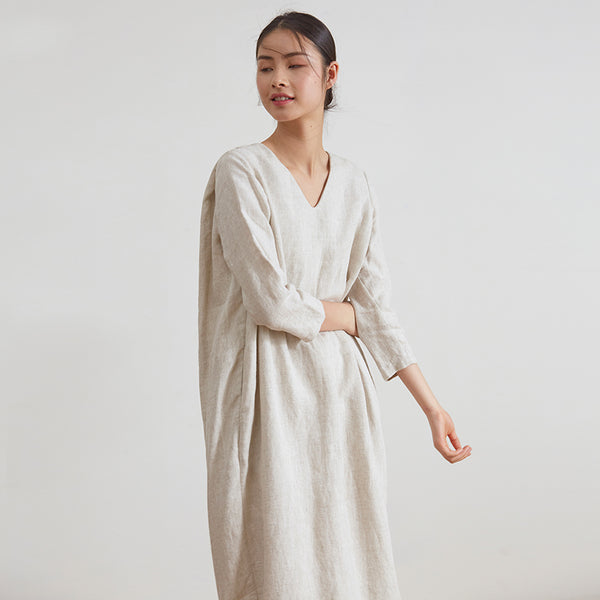 Loose Beige Linen Maxi Dresses Women Casual Spring Clothes Q18035